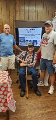 Former New York Yankee Jim Lyttle, left, stopped visits the Play Ball exhibit at the Dearborn County Historical Museum, Lawrenceburg. He signed a few baseballs and hung out with his dad, Lawrence, and brother Curt. Photo by Jenny Awad