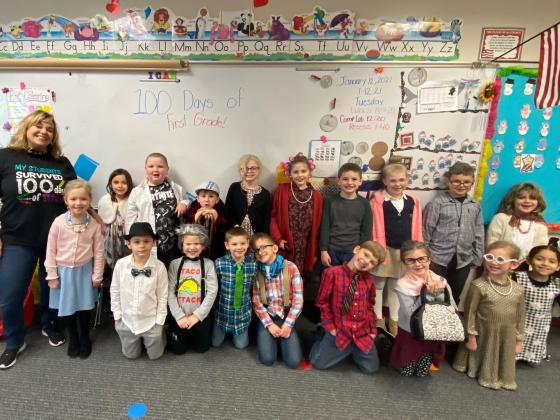Melissa Dennis' first-grade class celebrates 100 days of school on Tuesday, Jan. 12. Dennis says the class has been lucky to be in-person all year.  Submitted Photo