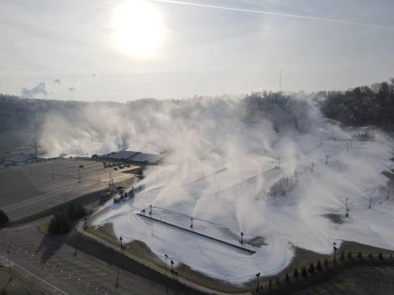 200 guns blow snow onto the slopes at Perfect North.  Submitted Photo