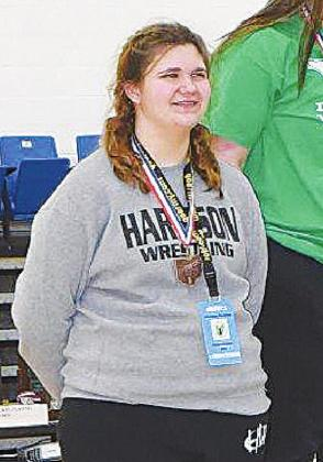 Wildcat Jessica Edwards came in sixth in her weight class at the girls state wrestling tournament Feb. 20. PHOTO BY SANDY MINOR